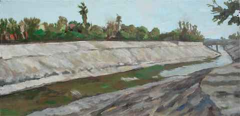 Artist: Christophe Cassidy - Ballona Creek With Your Back to the Creek - Oil Painting on Canvas 18x36
